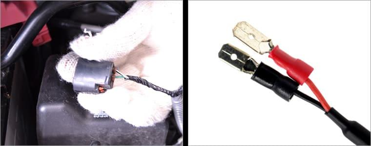 車輛側コネクタ—、LED側の端子の写真