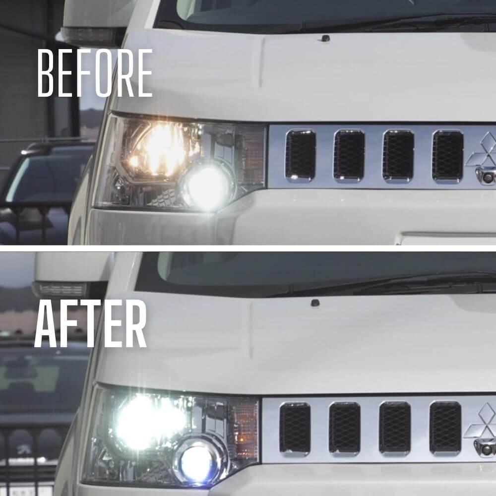 【上側】純正ハロゲンライト【下側】fcl.LEDヘッドライト