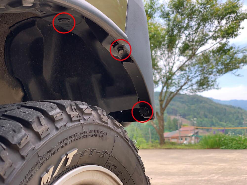 ハイゼットカーゴ S331V ヘッドライトをLED化_タイヤハウス内