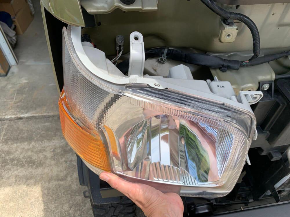 ハイゼットカーゴ S331V ヘッドライトをLED化_ヘッドライトユニット取外し