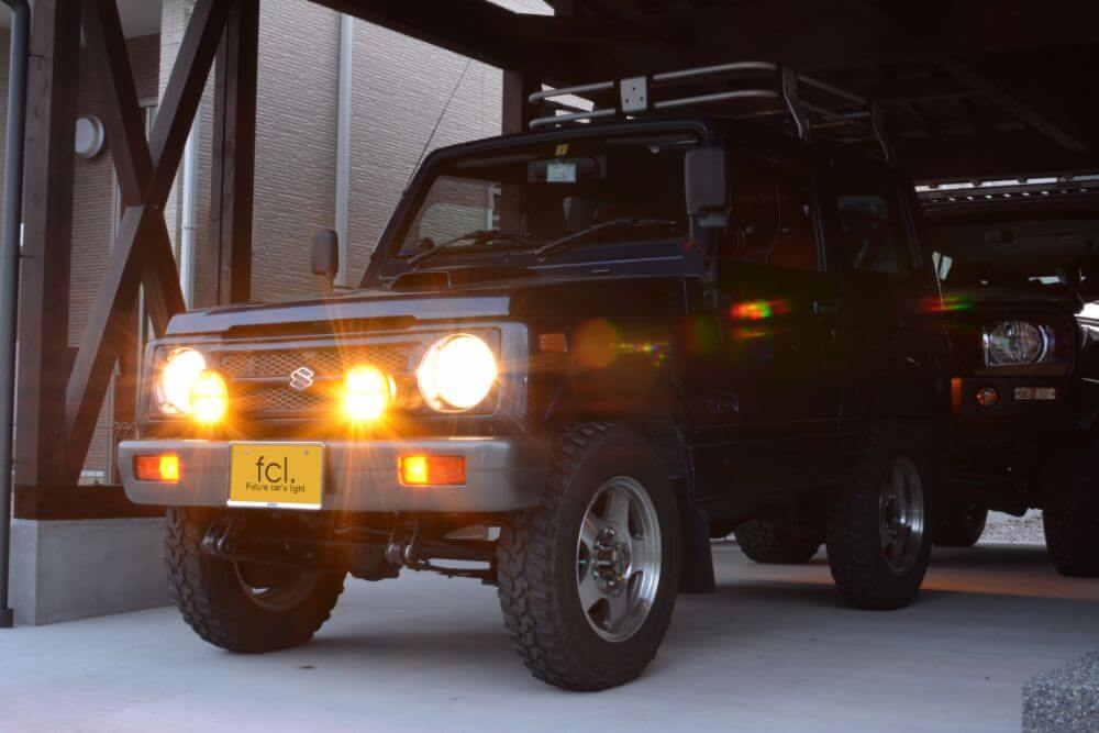 ジムニーJA11V LEDヘッドライト ハロゲン色 点灯