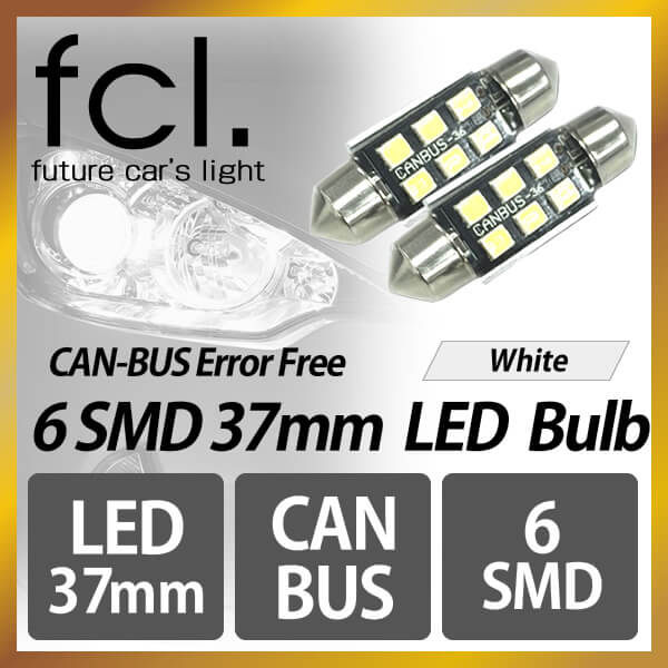 37mm 6-SMD White [Warning Canceler Error Free] -Pack of 2