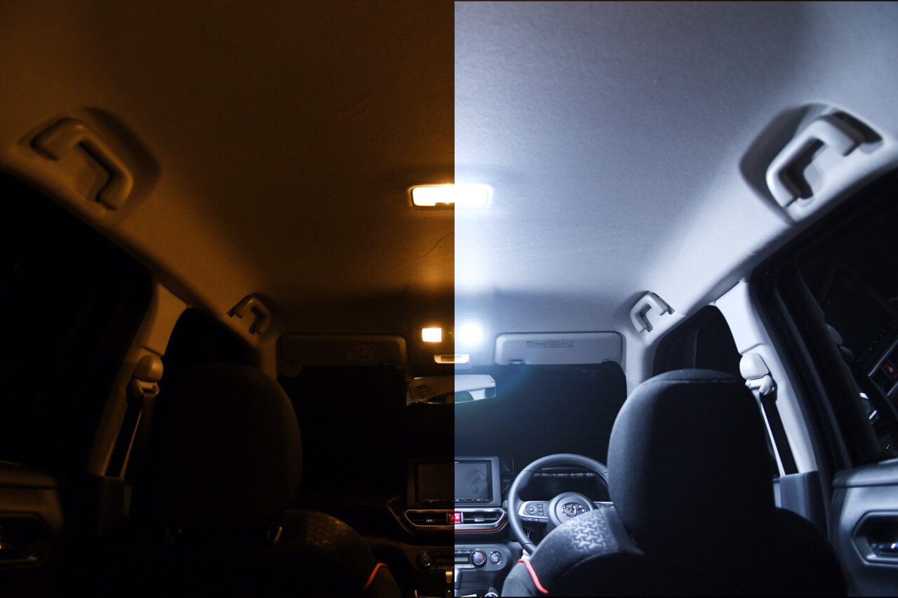 左:純正 右:fcl. ライズ・ロッキー専用ルームランプ