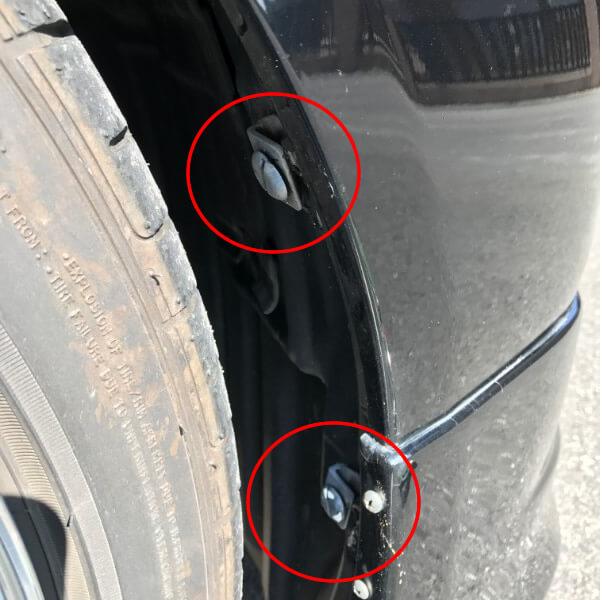タイヤハウスのクリップを取り外し