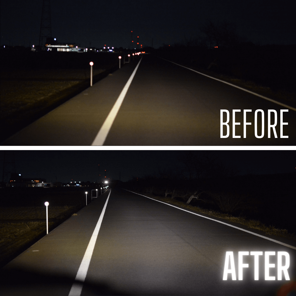 ビフォーアフター ヘッドライト&フォグランプ照射比較