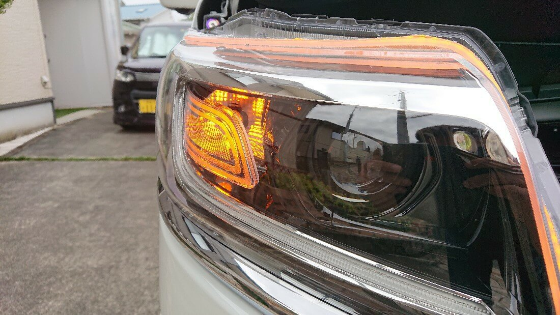 交換後 LED T20ピンチ部違い 抵抗内蔵LEDバルブ点灯