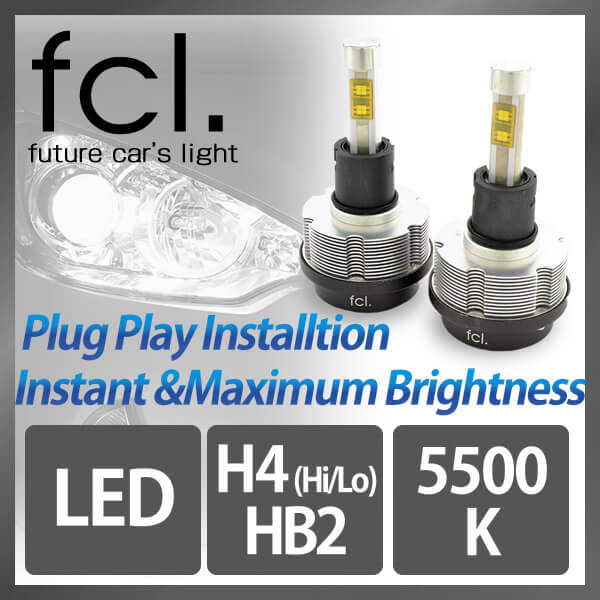 fcl. LED Headlight H4 Hi/Lo 2PCS